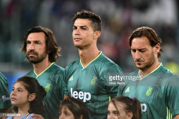 Andrea Pirlo Cristiano Ronaldo and Francesco Totti during the 'Partita Del Cuore' Charity Match at Allianz Stadium on May 27 2019 in Turin Italy