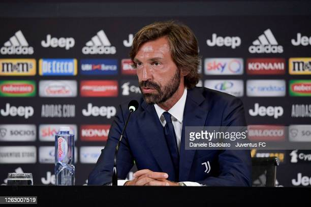 Andrea Pirlo during the press conference of the unveiling of Andrea Pirlo as new U23 team coach at Allianz Stadium on July 31, 2020 in Turin, Italy.
