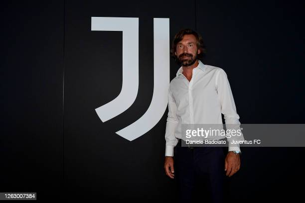 Andrea Pirlo during the signing of Andrea Pirlo as new U23 team coach at Allianz Stadium on July 31, 2020 in Turin, Italy.