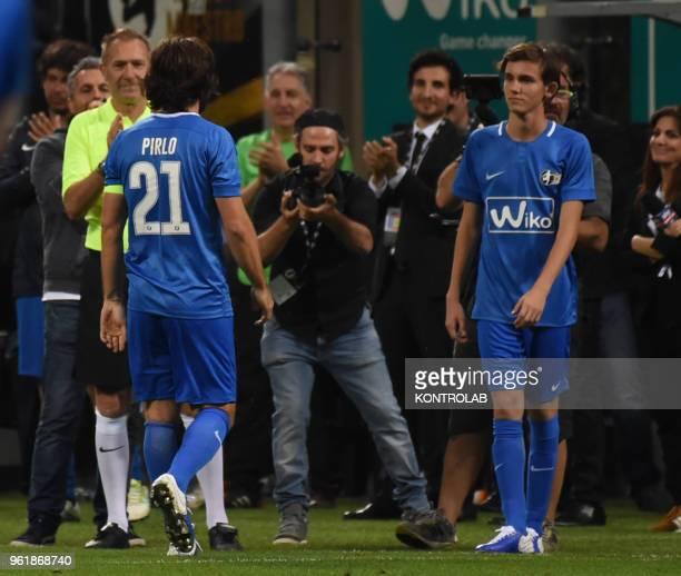 STADIUM MILAN LOBBARDIA ITALY Andrea Pirlo give the place to his son Niccolo Pirlo during his last matchin Giuseppe Meazza's Stadium