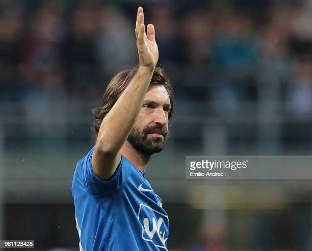 Andrea Pirlo greets the fans at the end of Andrea Pirlo Farewell Match at Stadio Giuseppe Meazza on May 21 2018 in Milan Italy