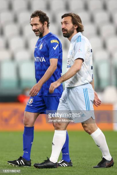 Andrea Pirlo Head coach of Juventus and Italian Singer of the band Subsonica, writer and Television host Boosta, during the 30th 'Partita Del Cuore'...