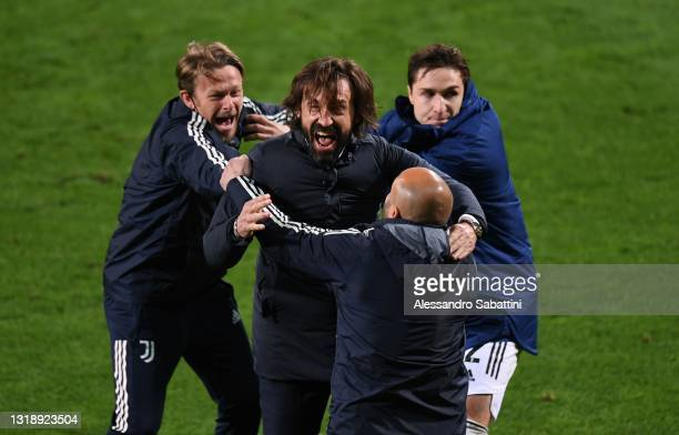 Andrea Pirlo head coach of Juventus celebrates the victory during the TIMVISION Cup Final between Atalanta BC and Juventus on May 19, 2021 in Reggio...