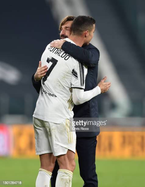 Andrea Pirlo, Head coach of Juventus celebrates with Cristiano Ronaldo of Juventus following the Coppa Italia semi-final Juventus and FC...