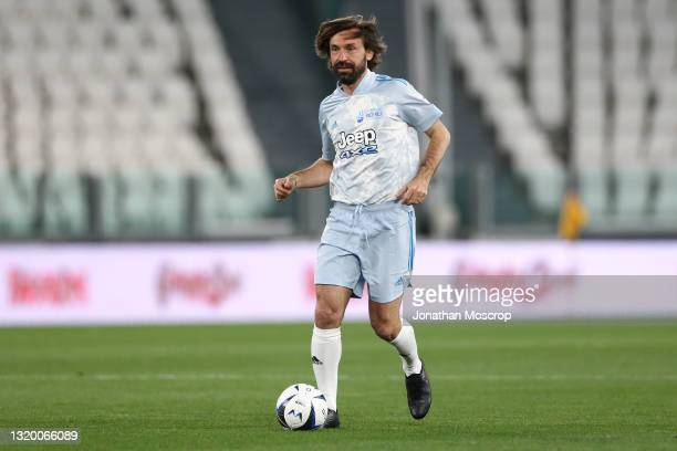 Andrea Pirlo, head coach of Juventus, controls the ball during the 30th 'Partita Del Cuore' charity friendly match between Nazionale Cantanti and...