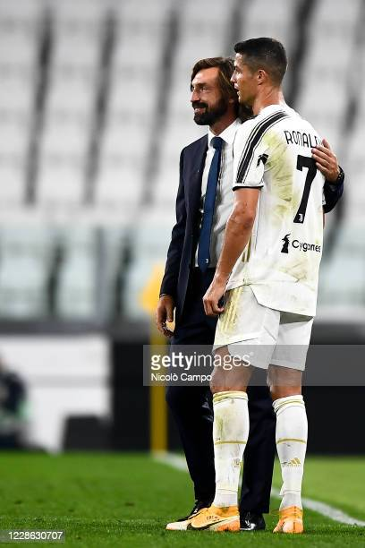 Andrea Pirlo head coach of Juventus FC and Cristiano Ronaldo of Juventus FC celebrate the victory at the end of the Serie A football match between...