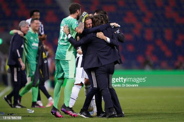 Andrea Pirlo head coach of Juventus FC clebrate the qualification at Champions League 2021/22 at the end of Serie A match between Bologna FC and...
