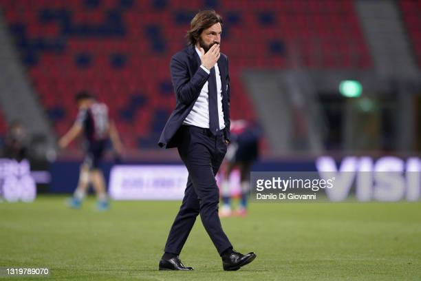 Andrea Pirlo head coach of Juventus FC during the Serie A match between Bologna FC and Juventus at Stadio Renato Dall'Ara on May 23, 2021 in Bologna,...