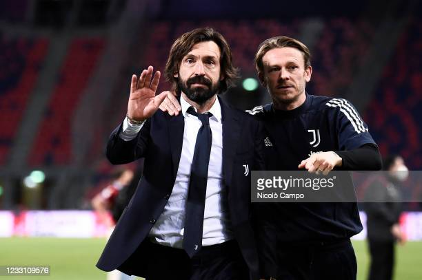 Andrea Pirlo , head coach of Juventus FC, gestures at the end of the Serie A football match between Bologna FC and Juventus FC. Juventus FC won 4-1...