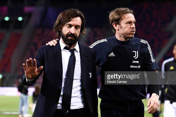 Andrea Pirlo , head coach of Juventus FC, looks dejected at the end of the Serie A football match between Bologna FC and Juventus FC. Juventus FC won...