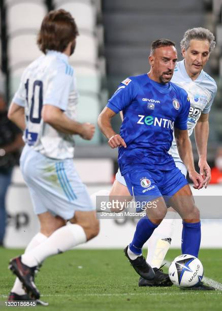 Andrea Pirlo Head coach of Juventus looks on as Franck Ribery takes on Michele Coppola Intesa Sanpaolo Executive Director of Art, Culture and...