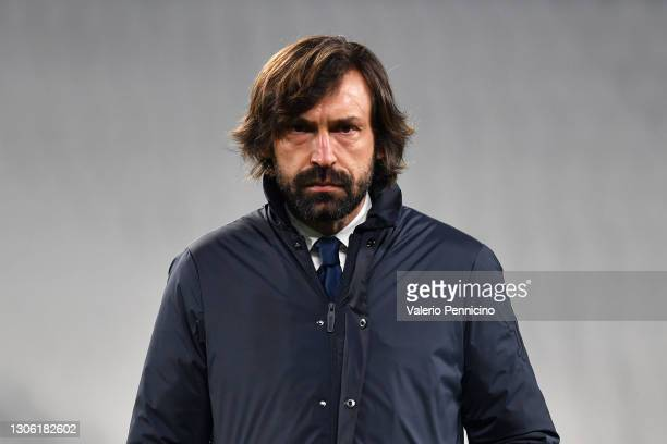Andrea Pirlo, Head coach of Juventus looks on during the warm up prior to the UEFA Champions League Round of 16 match between Juventus and FC Porto...