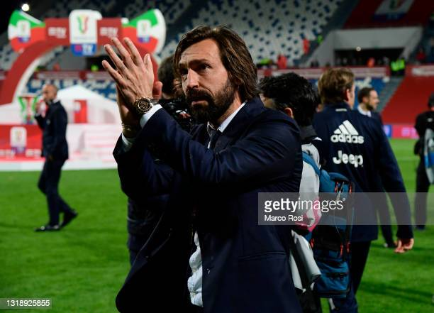 Andrea Pirlo, Head Coach of Juventus looks on following the TIMVISION Cup Final between Atalanta BC and Juventus on May 19, 2021 in Reggio...