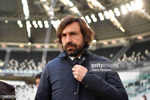 Andrea Pirlo, Head Coach of Juventus looks on prior to the Serie A match between Juventus and Benevento Calcio at Allianz Stadium on March 21, 2021...