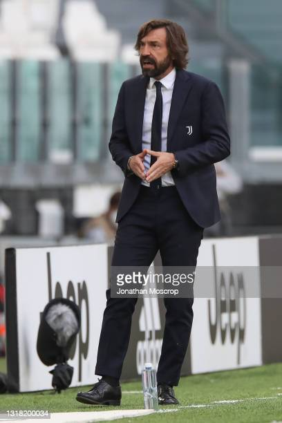 Andrea Pirlo Head coach of Juventus reacts during the Serie A match between Juventus and FC Internazionale at Allianz Stadium on May 15, 2021 in...