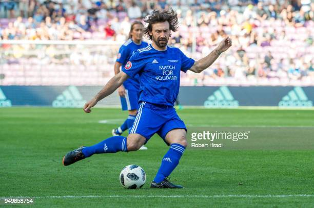Andrea Pirlo in action during the UEFA Match for Solidarity at Stade de Geneva on April 21 2018 in Geneva Switzerland