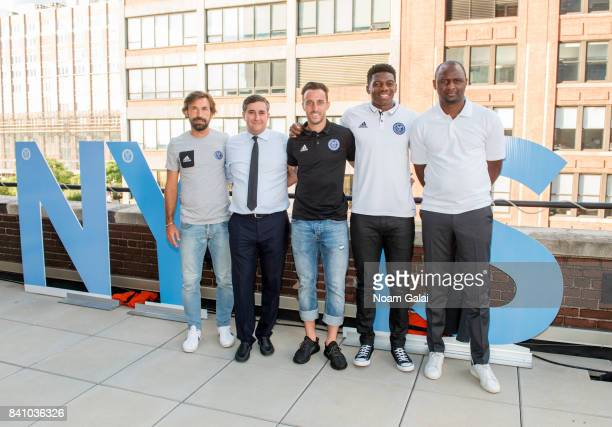 Andrea Pirlo Jon Patricof R J Allen Jonathan Lewis and Patrick Vieira attend the NYCFC popup experience store VIP launch party on August 30 2017 in...
