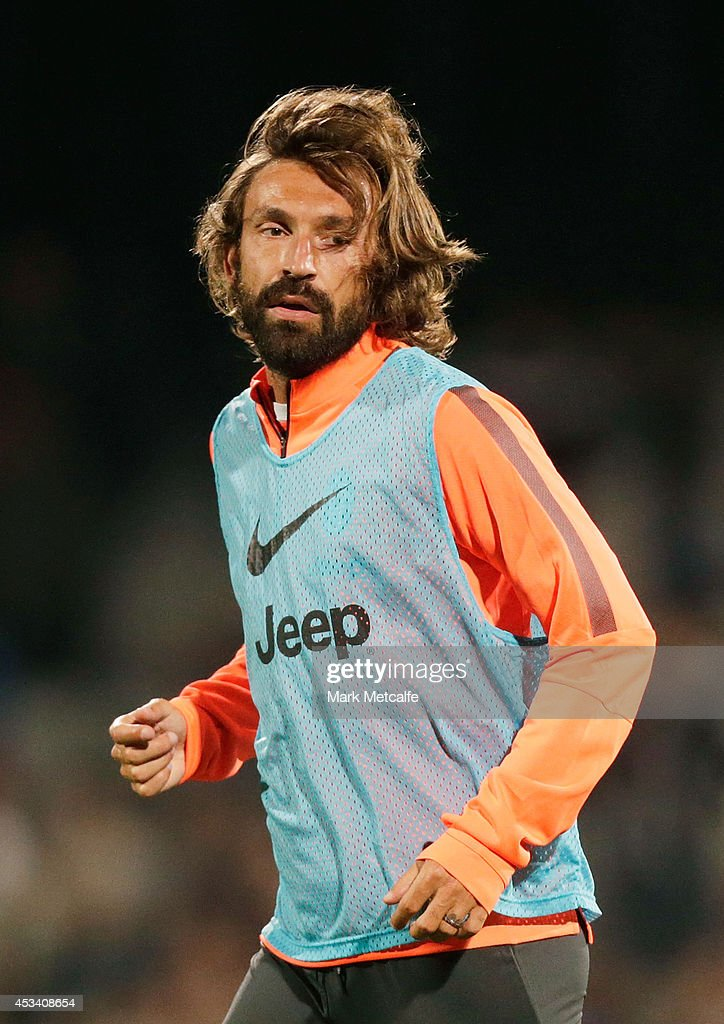 Andrea Pirlo looks on during a Juventus training session at WIN Jubilee Stadium on August 9, 2014 in Sydney, Australia.