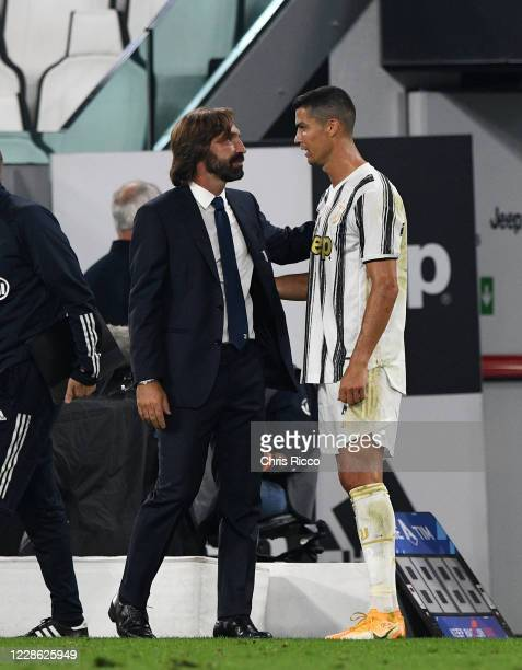 Andrea Pirlo Manager of Juventus congratulates Cristiano Ronaldo of Juventus after the match during the Serie A match between Juventus and UC...