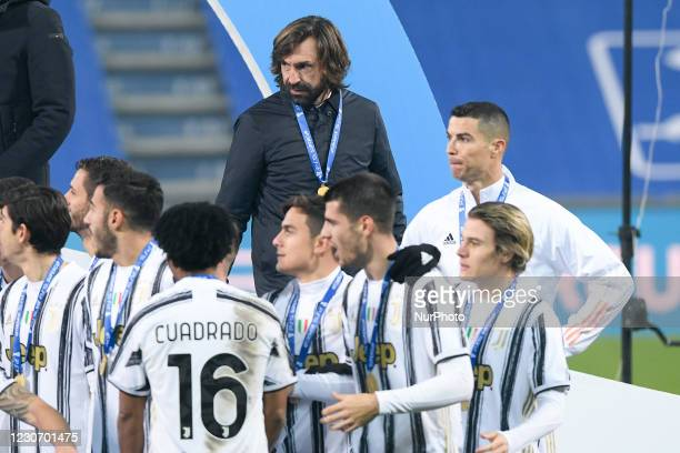 Andrea Pirlo manager of Juventus FC celebrate after winning the Italian Super Cup Final match between FC Juventus and SSC Napoli at the Mapei Stadium...