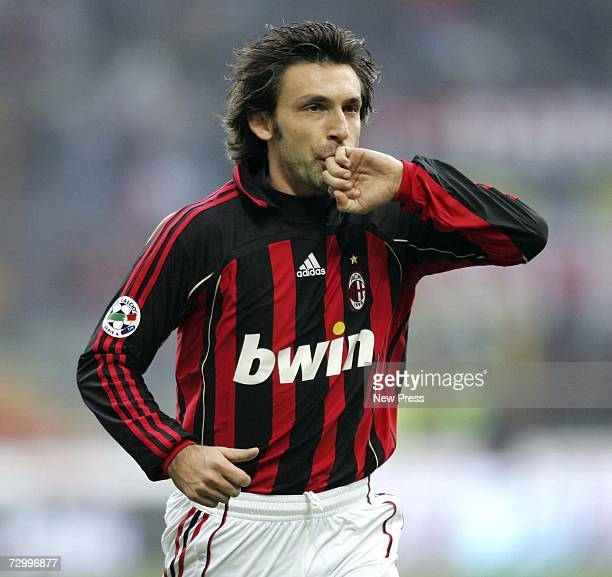 Andrea Pirlo of AC Milan celebrates his goal during the Serie A match between AC Milan and Reggina at the San Siro stadium on January 14 2007 in...