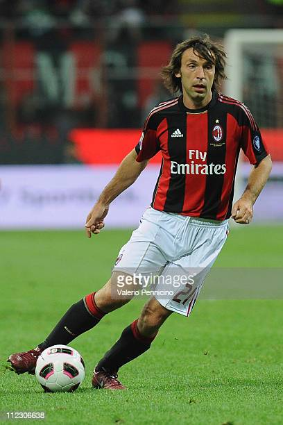 Andrea Pirlo of AC Milan in action during the Serie A match between AC Milan and UC Sampdoria at Stadio Giuseppe Meazza on April 16 2011 in Milan...