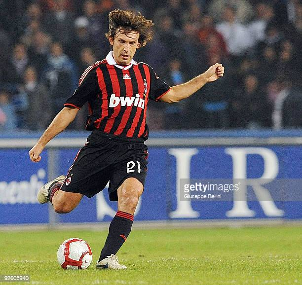 Andrea Pirlo of AC Milan in action during the Serie A match between SSC Napoli and AC Milan at Stadio San Paolo on October 28 2009 in Rome Italy