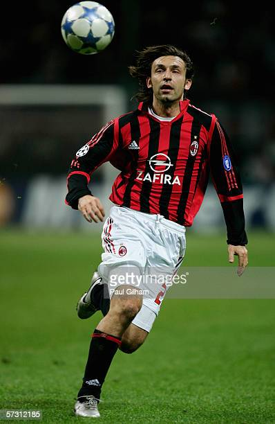 Andrea Pirlo of AC Milan in action during the UEFA Champions League Quarter Final Second Leg match between AC Milan and Lyon at the San Siro Stadium...