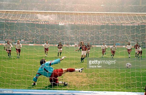 Andrea Pirlo of AC Milan scores from the penalty spot during the Serie A match between AC MIlan and Torino, played at the 'Guiseppe Meazza' San Siro...