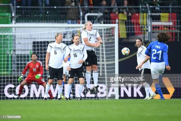 Andrea Pirlo of Azzurri Legends kicks a free kick during the Friendly Match between the DFBAllStars and Azzurri Legends at Sportpark Ronhof Thomas...