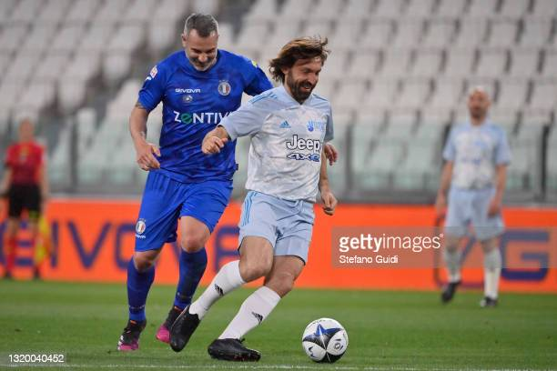 Andrea Pirlo of Campioni Per La Ricerca controls the ball during the 30th 'Partita Del Cuore' charity friendly match at Allianz Stadium on May 25,...