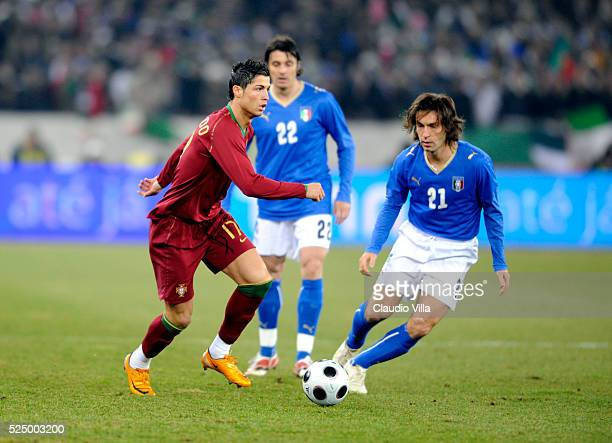Andrea Pirlo of Italy and Cristiano Ronaldo of Portugal compete for the ball during the friendly match between Italy and Portugal at the 'Letzigrund'...