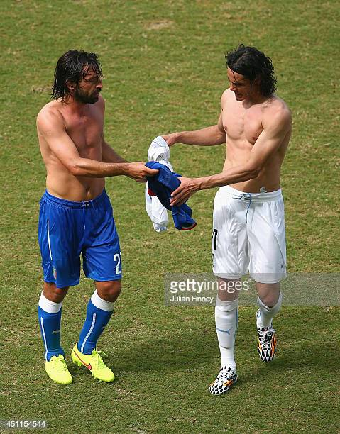 Andrea Pirlo of Italy and Edinson Cavani of Uruguay exchange jerseys during the 2014 FIFA World Cup Brazil Group D match between Italy and Uruguay at...