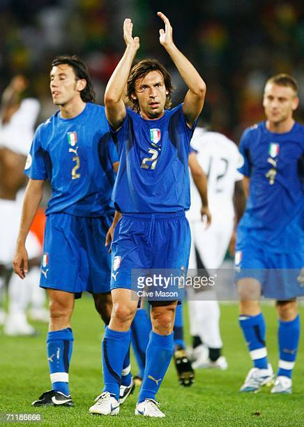 Andrea Pirlo of Italy applauds his team's fans after victory in the FIFA World Cup Germany 2006 Group E match between Italy and Ghana played at the...