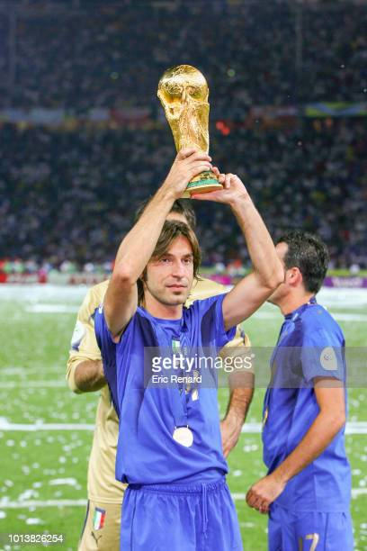 Andrea Pirlo of Italy celebrates during the World Cup final match between Italy and France at the Olympiastadion in Berlin Germany on July 9th 2006