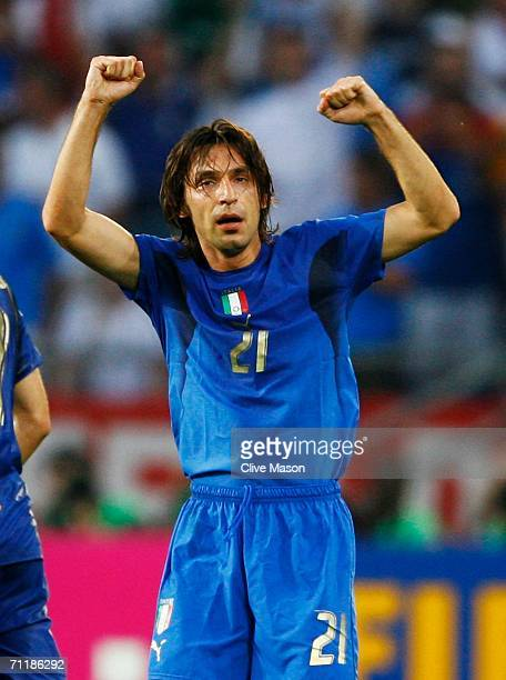 Andrea Pirlo of Italy celebrates scoring his team's first goal during the FIFA World Cup Germany 2006 Group E match between Italy and Ghana played at...