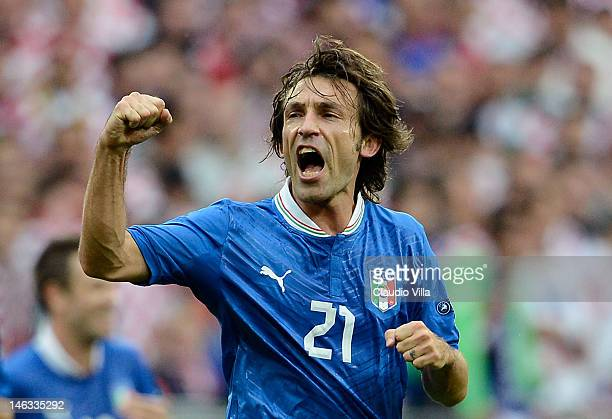 Andrea Pirlo of Italy celebrates scoring the opening goal during the UEFA EURO 2012 group C match between Italy and Croatia at The Municipal Stadium...