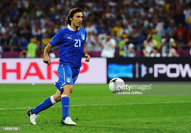 Andrea Pirlo of Italy chips the ball in the penalty shootout during the UEFA EURO 2012 quarter final match between England and Italy at The Olympic...