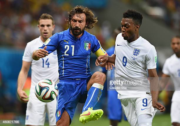 Andrea Pirlo of Italy controls the ball against Daniel Sturridge of England during the 2014 FIFA World Cup Brazil Group D match between England and...