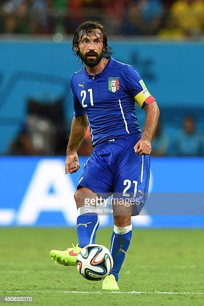 Andrea Pirlo of Italy controls the ball during the 2014 FIFA World Cup Brazil Group D match between England and Italy at Arena Amazonia on June 14...