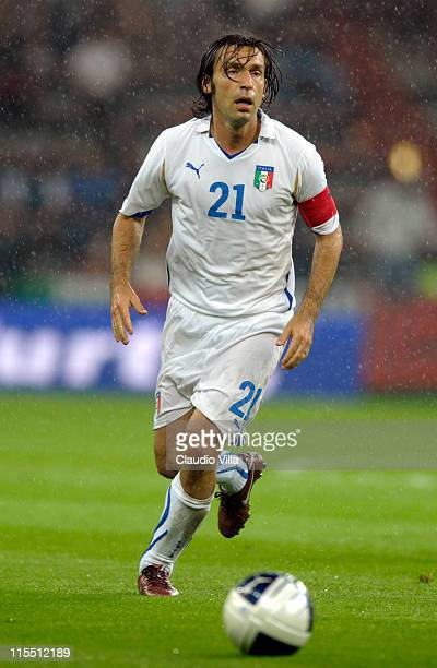 Andrea Pirlo of Italy during the international friendly match between Italy and Ireland at Stade Maurice Dufrasne on June 7 2011 in Liege Belgium