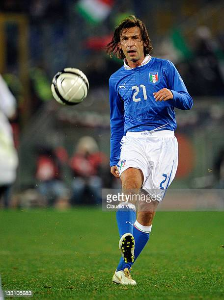 Andrea Pirlo of Italy during the International friendly match between Italy and Uruguay at Olimpico Stadium on November 15 2011 in Rome Italy