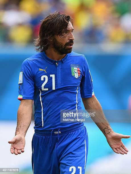 Andrea Pirlo of Italy gestures during the 2014 FIFA World Cup Brazil Group D match between Italy and Uruguay at Estadio das Dunas on June 24 2014 in...