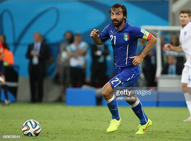 Andrea Pirlo of Italy in action during the 2014 FIFA World Cup Brazil Group D match between England and Italy at Arena Amazonia on June 14 2014 in...