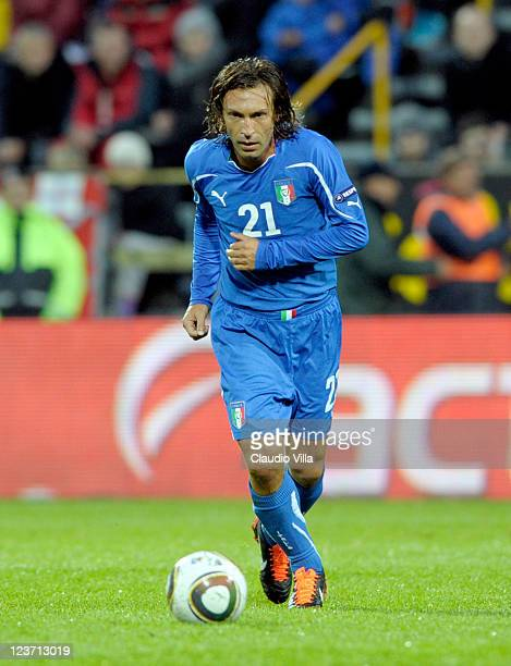 Andrea Pirlo of Italy in action during the EURO 2012 Qualifier match between Faroe Islands and Italy at Torsvollur Stadium on September 2 2011 in...