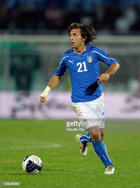 Andrea Pirlo of Italy in action during the EURO 2012 Qualifier match between Italy and Northern Ireland at Adriatico Stadium on October 11 2011 in...