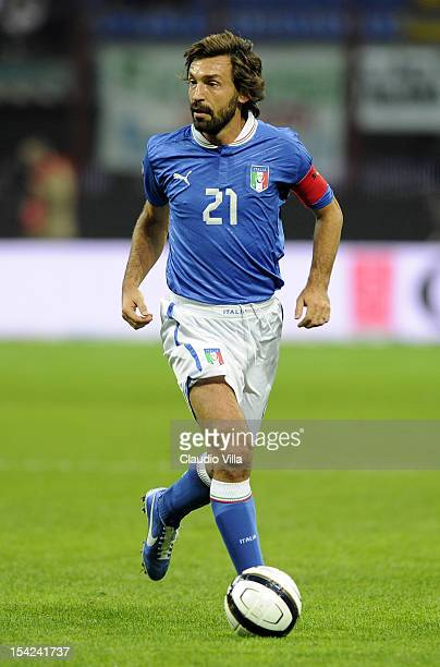Andrea Pirlo of Italy in action during the FIFA 2014 World Cup Qualifier group B match between Italy and Denmark at Stadio Giuseppe Meazza on October...