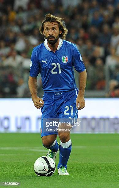 Andrea Pirlo of Italy in action during the FIFA 2014 World Cup Qualifier group B match between Italy and Czech Republic at Juventus Arena on...