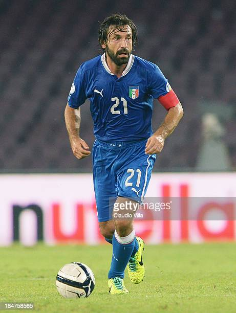 Andrea Pirlo of Italy in action during the FIFA 2014 World Cup qualifier group B match between Italy and Armenia at Stadio San Paolo on October 15...