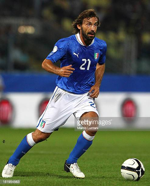 Andrea Pirlo of Italy in action during the FIFA 2014 World Cup qualifier match between Italy and Malta on September 11 2012 in Modena Italy